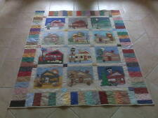 "Strolling the Block"" 100% Cotton Handmade Block Quilt 54"" x 66"" New"