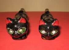 Vintage Long Stretch Black Cat Panther Redware Salt & Pepper Shaker Japan