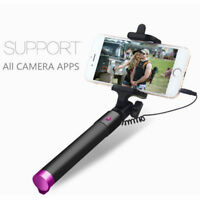 Extendable Wired Remote Self-Pole Handheld Selfie Stick for iPhone Samsung