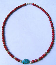 RED  CORAL /TURQUOISE  24K/14K GOLD FILLED BEAD NECKLACE 19.25 INCH (1)