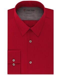 Calvin Klein Mens Dress Shirt Red Size XL 17-17 1/2 Extreme Slim Fit $79 002