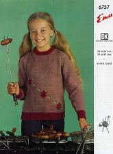 "Emu Knitting Pattern 6757 Girls Embroidered Floral Sweater DK 24-36"" Vintage"