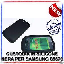 CUSTODIA+PELLICOLA COVER SILICONE NERA PER SAMSUNG S5570 GALAXY NEXT (B4)