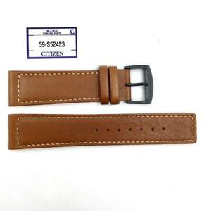 CITIZEN 22 mm Genuine BROWN LEATHER WATCH BAND STRAP 59-S52423