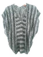 7 For All Mankind Top Sleeveless Poncho-Style BLACK Gray V-Neck Shirt Sz Medium