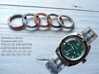 Vostok watch bezel custom Amphibia & Komandirskie Stainless steel bezel +Insert