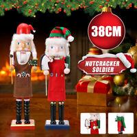 38CM Handcraft Walnut Puppet Wooden Nutcracker Soldier Christmas Decor Xmas