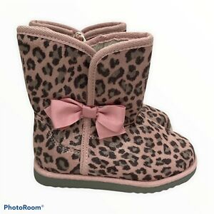 Cherokee Boots Size 12 Toddler Girls Leopard Print Fur Metallic Zip Up