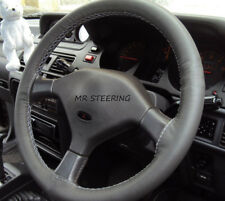 FOR MITSUBISHI SHOGUN PAJERO DARK GREY ITALIAN LEATHER STEERING WHEEL COVER NEW