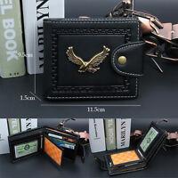 Men's Fashion Leather Bifold Wallet Credit Card Holder Zipper Purse Black Brown