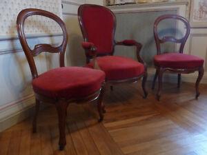 Lot de 2 chaises Louis philippe d'époque acajou Voltaire