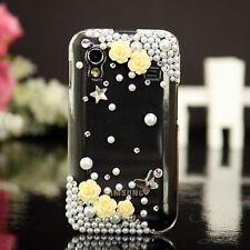 Samsung Galaxy ACE S5830 Hard Case Handy Schutz Hülle Etui Perlen Klar Gelb 3D