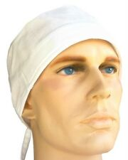 SWEATBAND HAT WHITE CHEF COOK RESTAURANT CAP SELF TIE