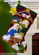 "Bucilla Nativity ~ 18"" Felt Christmas Stocking Kit #86449 Manger Jesus Mary Lamb"