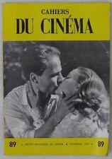 Cahiers du Cinéma N° 89 Novembre 1958