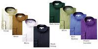 Men's Classic Mandarin Collar Dress Shirt Hidden Button Size 15~20