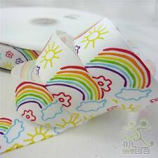 "5 Yards 25mm Cute Colorful Rainbow Cartoon Grosgrain Ribbon Craft 25mm(1"")"