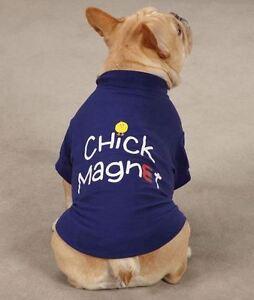 Dog Tee T-Shirt  Top Chick Magnet Blue Dog Shirt