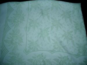 Vintage Green & White Rayon Damask Floral Tablecloth