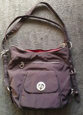 """BAGGALLINI """"BRUSSELS"""" 3-WAY BAG ~ Espresso Brown w/ Tomato Red Lining"""