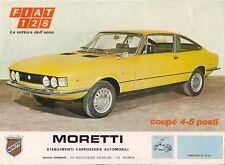 Moretti Fiat 128 Coupe & Roadster 1970-71 Italian Market Leaflet Sales Brochure