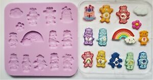 CARE BEARS SILICONE MOULD FOR CAKE TOPPERS, CHOCOLATE, CLAY ETC