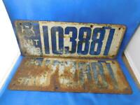 ONTARIO LICENSE PLATE 1918  LOT COMPLETE SET 103881 PAIR VINTAGE  CANADA CAR
