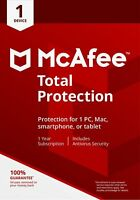 McAfee 2019 Total Protection 1 Device - PC/Mac/Android Internet Security EMAILED