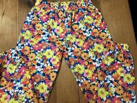 Disney Girls Size Large 10/12 Pants Floral Bright Multi-Color Floral Joggers