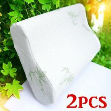 2 PACK Queen Hotel Bamboo Pillow Memory Foam Hypoallergenic Cool Comfort NEW EM!