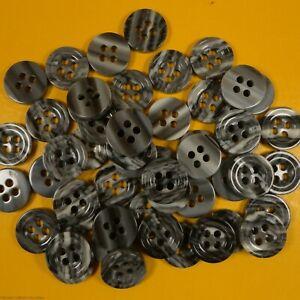 Multi Grey Tone - 4 Hole Plastic Buttons (10 or 20 grams per bag) (11mm Dia)