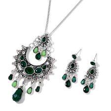 NEFERTITI'S Tesoro Colección Verde Chroma Cristal Conjunto Collar y Pendientes
