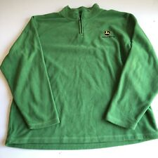 John Deere Men's Large 1/2 Half Zip Green Fleece Sweater