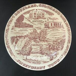 Vintage 1950's Vernon Kilns Souvenir Plate Loveland Colorado Sweetheart Town