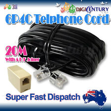 Black 20M 6P4C ADSL Telephone ADSL2+ Cable RJ11 with Female to Female Coupler