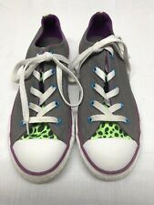 Converse All Star Girls Low Top Sneakers Gray Canvas Multicolor Trim Size 4