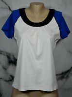 SB ACTIVE White Blue Black Ringer Tee Top Large Short Sleeves 100% Cotton