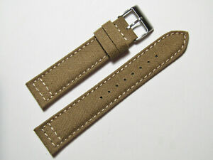 20mm Hadley-Roma MS850 Mens Sand Khaki Tan Cordura Canvas Watch Band Strap