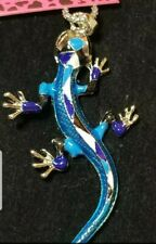 New Fashion Betsey Johnson Blue Enamel Lizard Gecko Necklace Sweater Chain