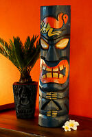 Tiki Hawaii Massivholz Säule 40cm Totem Südsee Holz Statue Schnitzerei Deko rund