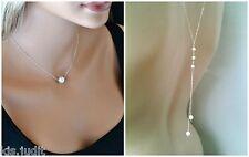 Bellissima collana Y da schiena con perle bianche  - Colore Argento