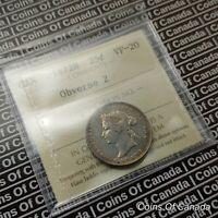 1872 H Canada 25 Cents Silver Quarter - ICCS VF-20 Obverse 2  #coinsofcanada