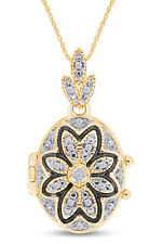 Natural Diamond Oval Vintage-Style Flower Locket 14K Yellow Gold Over 0.10 Ct
