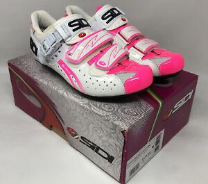SIDI GENIUS FIT Women's White Flo Pink Road Shoes EU 39 US 7 MSRP $250