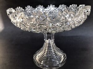 Antique American Brilliant ABP Cut Glass Compote Footed Pedestal Centerpiece 8""