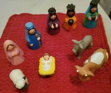 UNBRANDED CHILDREN'S ALL VINYL COLORFUL NATIVITY SET, 9 PIECES