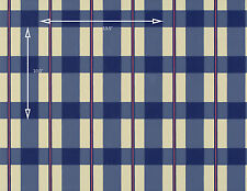 Vintage Wallpaper Country Plaid Navy Blue and Red