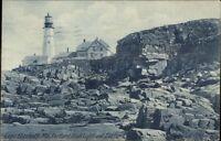 Cape Elizabeth ME Portland Head Lighthouse Blue Tint c1910 Postcard
