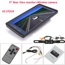 "9"" Screen TFT Car LCD Rear View Rearview DVD Mirror Monitor Backup Camera NEW"