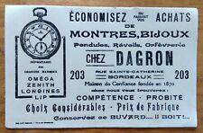 Lot de 10 buvards Chez Dagron : Montres, bijoux, pendules, ... Bordeaux